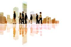 business people walking with ciyscape in the background - stock illustration