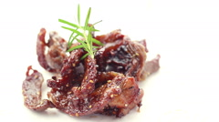 HD Footage of Dried Peppered Beef on white, Seamless loop Stock Footage