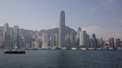 Time Lapse of cruise ship, passenger liners past  Hong Kong Central Stock Footage