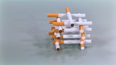 Cigarettes destroyed fist Stock Footage