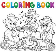 Coloring book scouts theme  - stock illustration