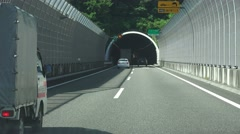 Driving Into Japanese Highway Tunnel 4K - stock footage