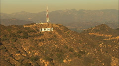 Aerial Hollywood sign Los Angeles California USA city - stock footage