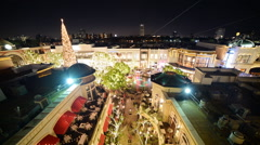 Time Lapse of Shopping Mall in Holidays -Zoom In- - stock footage