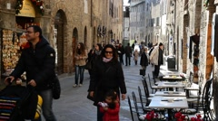 People at Dome square in San Gimignano    Stock Footage