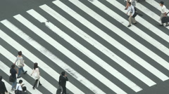 Busy Pedestrian Street Crossing From Above  - Shibuya, Tokyo Japan - stock footage
