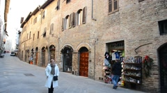 View of medieval street in San Gimignano    Stock Footage