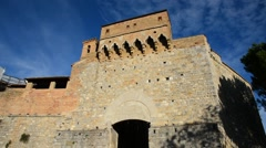 People at  San Giovanni gate - S. Gimignano - Italy Stock Footage