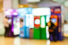 blurry automatic teller machine - stock photo