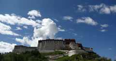 4k time lapse of clouds rolling Potala with willow in Lhasa,Tibet. Stock Footage
