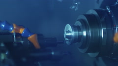 CNC Lathe Machine Produces Metal Detail on Factory 7 Stock Footage