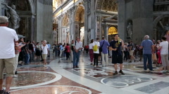 Rome Italy Vatican St Peters Cathedral inside beautiful HD 3724 Stock Footage