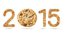 2015 numeric from natural sugar and chocolate chunk crispy cookie - stock illustration