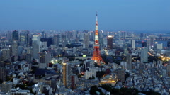 Time Lapse of Tokyo Skyline with Tokyo Tower at Night Stock Footage