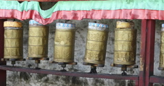4k turn spinning buddhist prayer wheels in Potala Palace,lhasa tibet. Stock Footage
