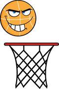 Angry Basketball Cartoon Character On Rim Stock Illustration