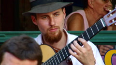 Close on Guitar Player in Buenos Aires - BA Street life 58 Stock Footage