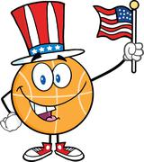 Stock Illustration of Happy Basketball Character With American Patriotic Hat And USA Flag