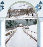 Winter snow descend stairs in the pond is not frozen Stock Photos