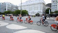 People enjoying a nice day in Copacabana in Rio de Janeiro, Brazil Stock Footage