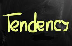 """Tendency"" handwritten with white chalk on a blackboard Stock Illustration"