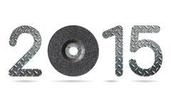 2015 numeric from grinding wheel and grunge diamond metal plate texture Stock Illustration
