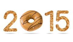Stock Illustration of 2015 numeric from natural sugar and donut topped by coffee cream and chocolat