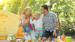 Portrait of happy family with two young children in nature Stock Footage