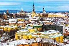 Winter scenery of Tallinn, Estonia - stock photo