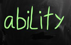 "Stock Illustration of ""Ability"" handwritten with white chalk on a blackboard"