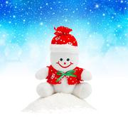 Smiling generic christmas snowman toy sitting on snow pile Stock Illustration