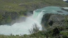 Waterfall Rainbow Patagonia Stock Footage