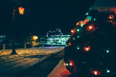 Stock Photo of christmas lights at the town square on a winter night, in jefferson, pennsylv