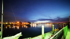 Time Lapse of Twilight Harbor in Marina Del Ray -Tilt Down- Stock Footage