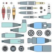 Color outline various audio connectors and inputs set Stock Illustration