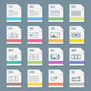 File formats icons set with illustrations Stock Illustration