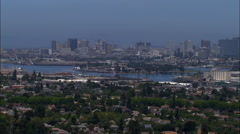 Aerial USA California Pacific Brooklyn basin water Oakland Stock Footage