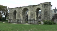 The Porte de Mars in Reims, Champagne-Ardenne, France. Stock Footage