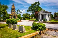 graves and mausoleums at oakland cemetary in atlanta, georgia. - stock photo