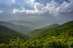 Hazy summer view of the appalachian mountains from the blue ridge parkway in  Stock Photos