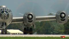 Boeing B-29 Bomber Run Up Pan L to R Stock Footage