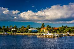 Houses along the intracoastal waterway in west palm beach, florida. Stock Photos