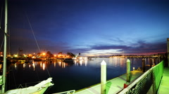 4K Time Lapse of Twilight Harbor in Marina Del Ray -Tilt Down- Stock Footage