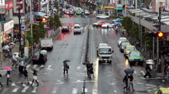 Above View of Traffic on Busy Boulevard after Rain Storm - Tokyo Japan Stock Footage