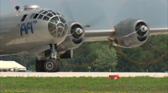 B-29 Taxi for Take Off Zoom Out Stock Footage