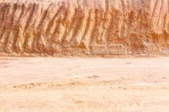 lateritic soil cross section - stock photo