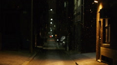 Boston Alley at Night with Snow Stock Footage