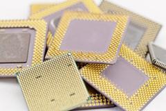 Close up of cpu processors Stock Photos