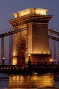 Night image of the hungarian chain Bridge - stock photo