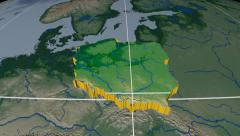 Poland extruded. Bumps shaded. Graticule. Stock Footage